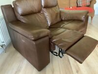 Electric Reclining Leather 2 seater Sofa push button