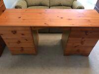 Solid Pine 6 Drawer Pedestal Dressing Table Assembled