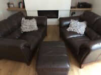 DFS Brown Leather Sofa set