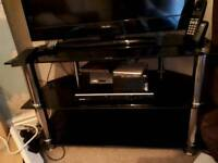 3 tier black tv stand