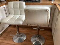 Bar stools two, light cream, height adjustable, swivel