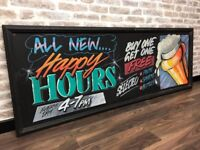 Chalked Blackboard Pub Sign
