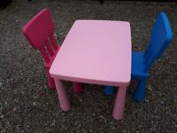 Childs table and two chairs.