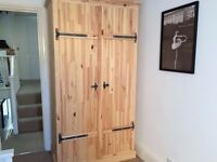 Solid Pine Wardrobe with two rows of hanging space