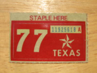 1977 TEXAS LICENSE PLATE RENEWAL STICKER