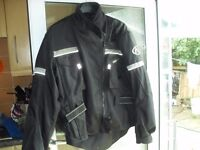 LADIES BIKER JACKET FULLY ARMOURED/WATERPROOF SIZE 12 PLUS BOOTS AND ARMOURED GLOVES