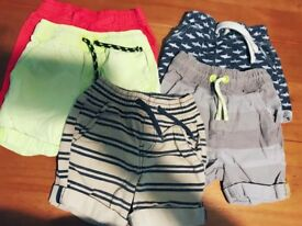 5 pairs of boys shorts 12-18 months