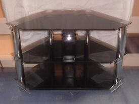 Chrome and black glass TV stand.