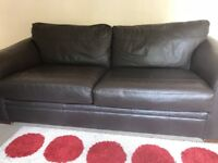 Two brown leather 3 seater sofas from Next for sale (immaculate condition)