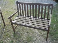 MODERN BROWN PAINTED WOODEN GARDEN BENCH.SITS 2-3. VIEWING/DELIVERY AVAILABLE