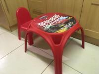 Chair and table for baby kids toddler red cars