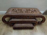 Oriental Hand Carved Set of 3 Coffee Table