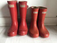 Boys/girls red hunter wellies/wellington boots 10 & 11