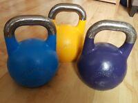 Wolverson competition steel kettlebells 8kg, 12kg, 16kg