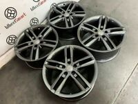"""GENUINE AUDI 18"""" A4/A5/A6 ALLOY WHEELS & TYRES (Fits VW) - GLOSS ANTHRACITE - 5 x 112 - 213"""