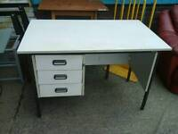 Light grey modern computer desk with 3 drawers