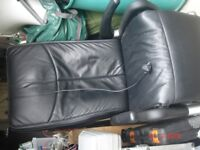 Black italian leather massage chair mains powered with wireless remote control