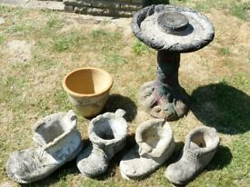 6 ASSORTED GARDEN ORNAMENTS BIRD BATH / BOOTS / PLANTER