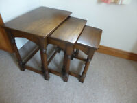 Nest of 3 solid wood tables probably 1970's