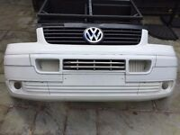 VW Transporter/ Camper T5 Front Bumper, Inserts and Grill 2003-2009 White/ Cream
