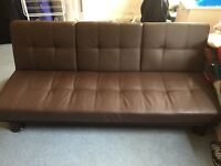 3-Seater Brown Faux Leather Sofa Bed. Excellent condition (used for less than 1 year)