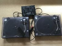 Pair of Technics 1210 MK2 decks for sale. Slightly damaged dust covers.