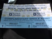 Concession tickets for the Royal highland show any day