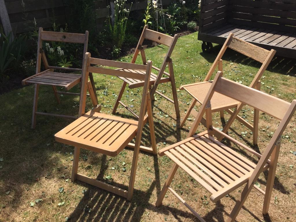 5 wooden folding kitchen garden chairs york