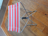 Vintage Red Grey Folding Camping Stool VW Camper Camping Festival Chair Retro