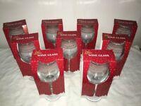 9 Large Christmas Patterned Wine Glasses Job Lot