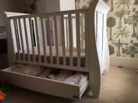 Tutti Bambini used baby cot with mattress converts to toddler bed