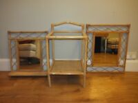 Wicker Rattan Side Table and Mirrors