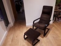 BARGAIN - Set of two Ikea Poang armchairs with matching footrests