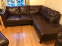 Brown leather corner sofa, foot stool and arm chair