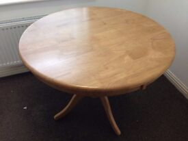 Circular Dining Table and 4 Chairs - Quality Teak Wood - Immaculate Condition