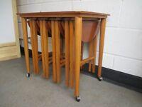 VINTAGE TEAK NEST OF FIVE TABLES SET OF FIVE SIDE TABLES ON CASTORS FREE DELIVERY