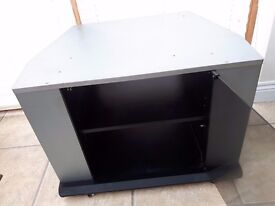 TV STAND WITH GLASS DOOR - Solid Design On Casters - 2 Shelf - Silver / Black