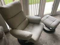 Cream recliner armchair and foot stool