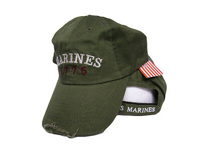 USMC Marines Marine Corps Olive Drab 1775 Washed Distressed Embroidered Cap Hat - Washed Caps Olive