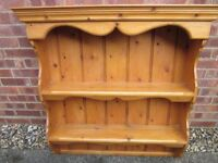 Solid Pine Country Wall Shelving Unit/Plate Rack