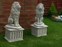 Lions On Plinths x2, cast stone , Compliment Any Garden, garden ornaments