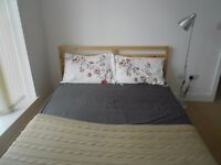 IKEA TARVA double bed frame (standard King size), slatted bed base and optional matress