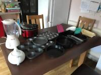 Job lot kitchen items slow cooker, blender, muffin tray.