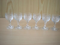 Six Thimble Cut Glass Shot Glasses