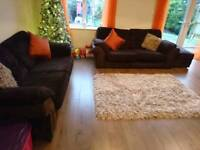 DFS Brown Jumbo Cord 2 x 3 Seater & Footstool, Delivery Available