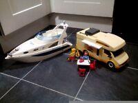 Playmobil campervan and boat