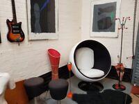 RETRO EERO AARNIO INSPIRED MONOCHROME EGG BALL SWIVEL DESIGNER CHAIR MCM MODERN HOME GC