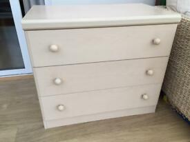 Chest of drawers and bookshelf