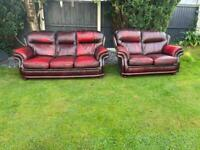 Saxons of Bolton leather oxblood chesterfield sofa set. Free delivery local