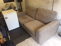3/4 seater brown sofa, single seater chair and foot stool (used but in very good condition)